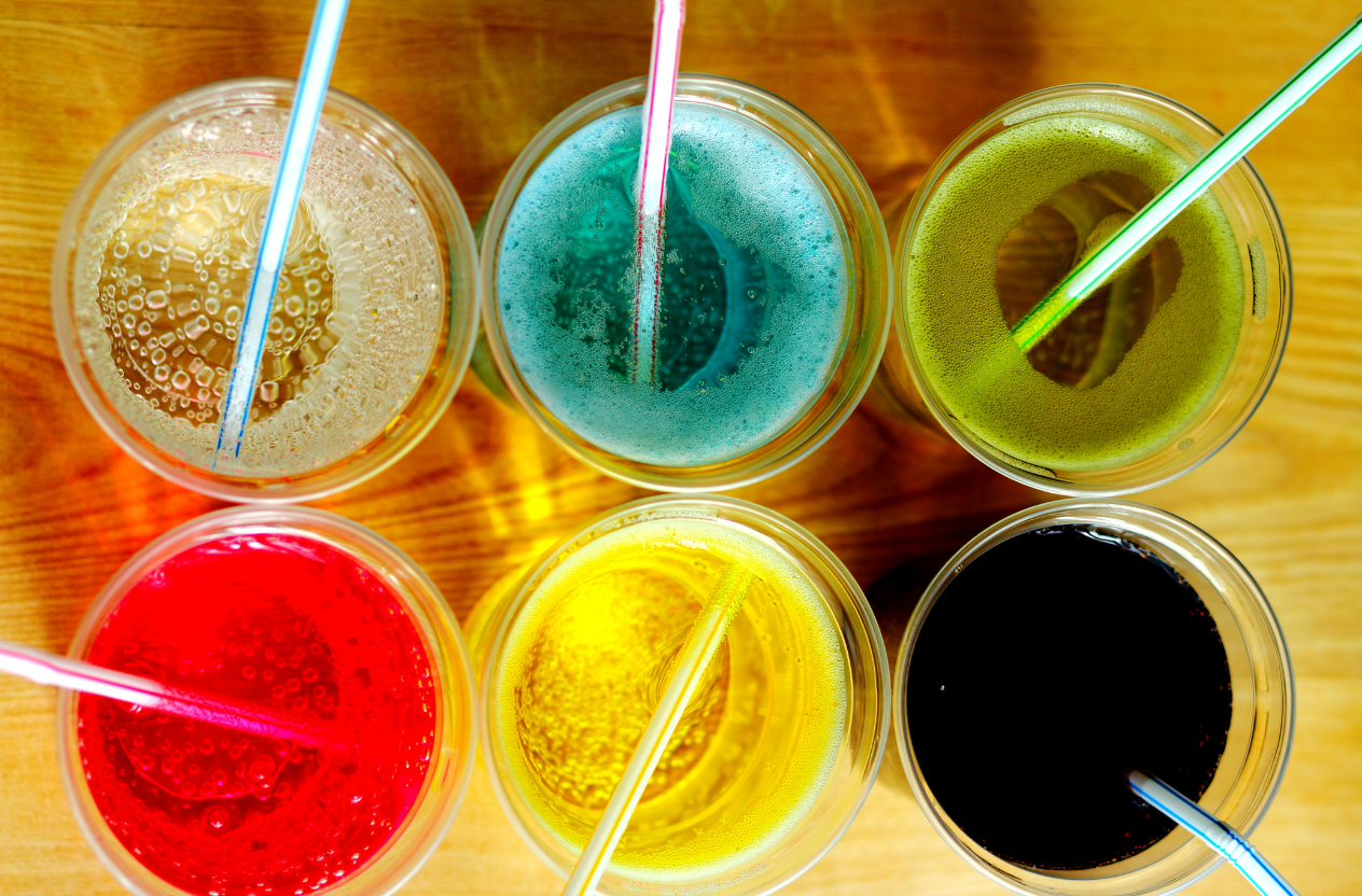 Sodas and many flavored beverages