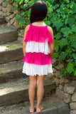 Girls Fuchsia & White Colorblock Pleated Tiered Dress