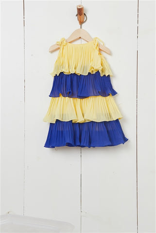 Girls Yellow & Royal Colorblock Pleated Tiered Dress