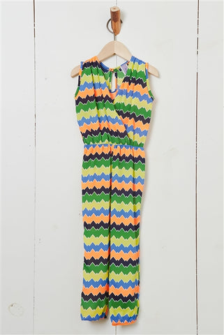 Girls Multi-Color Chevron Striped Jumpsuit