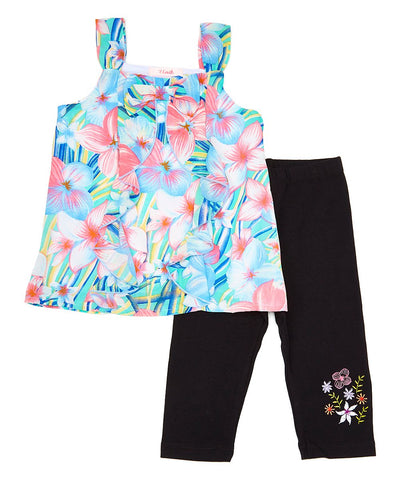 Girl Floral Ruffle with Bow Legging