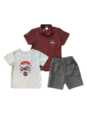 Boys 3 pcs Checks Shirt and Shorts
