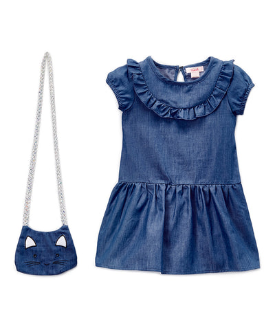 Girls Chambray Dress with Cat Purse