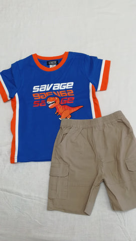 Boys Dino Shorts Set