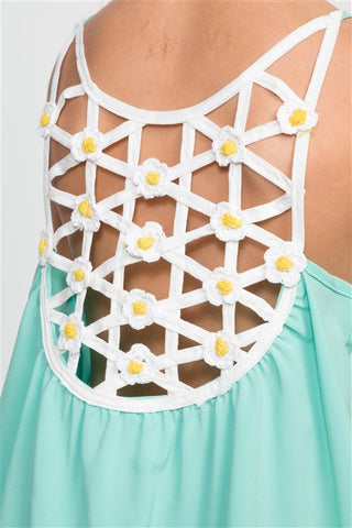 Girls Daisy Criss Cross Back Patch Top