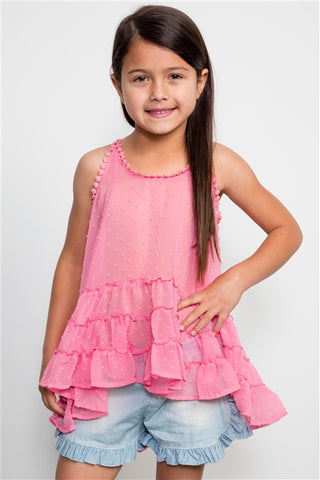 Girls Coral Chiffon Spaghetti Top Layered Bottom
