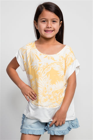 Girls Flower Print Yellow Top