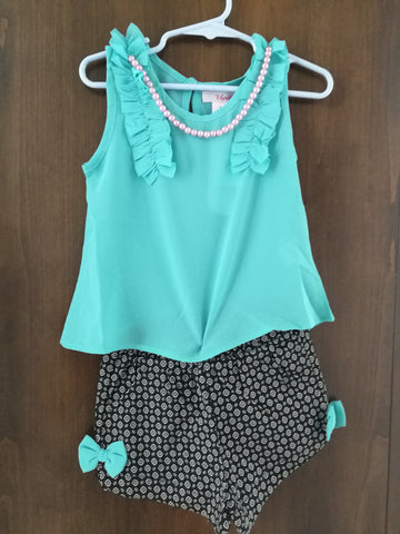 Girls Chiffon Shirt and Short Set