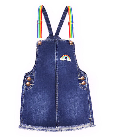 Girls Blue Denim Rainbow Frayed Jumper