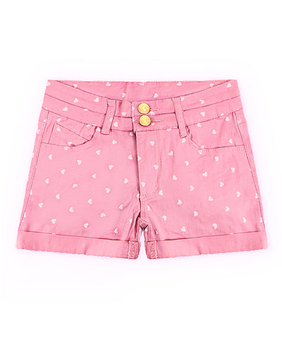 Girls Pink Heart Rolled-Cuff Twill Shorts