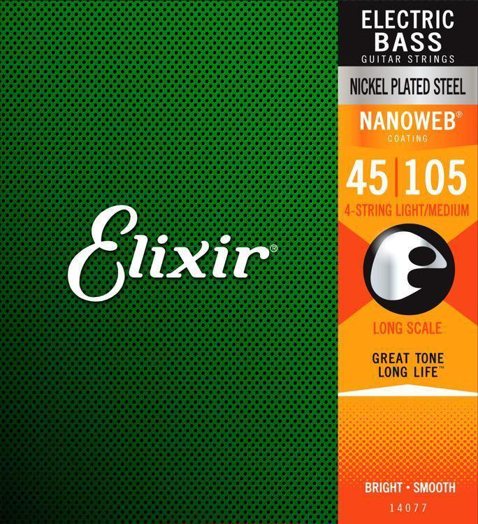 ELI-14077 - Elixir 14077 4 String Bass Light/Medium Long Scale Nickel Plated Steel Nanoweb 0.45-1.05
