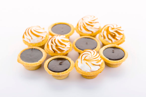 (SWC8) MINI CHOC. TARTS + MINI LEMON-MERINGUE TARTS (18 PC EACH)