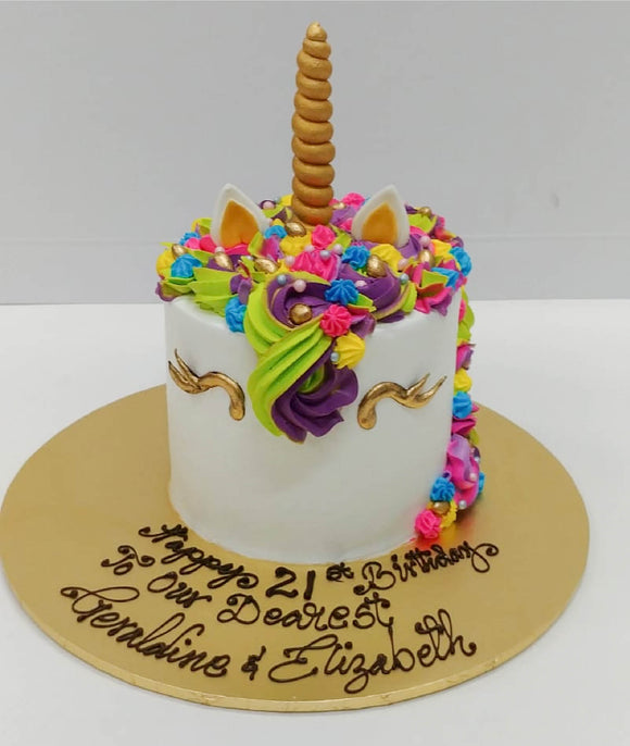 UNICORN Cake (Rainbow Cake flavour) - requires min. 5 days' notice