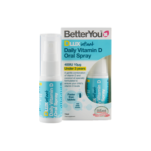 BetterYou DLux Infant Vitamin D3 Oral Spray supplement to deliver a daily dose of sunshine to children 6 months to 5 years of age