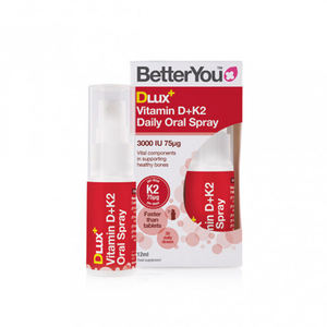 BetterYou DLux+ Vitamin D+K2 Oral Spray supplement to support a healthy immune system, healthy bones and blood clotting.