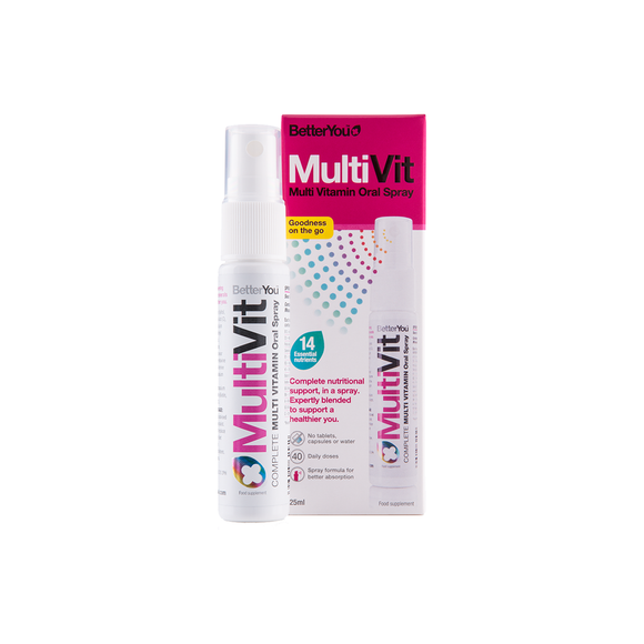 BetterYou MultiVitamin Oral Spray supplement delivering a blend of 14 essential vitamins and minerals directly into the bloodstream