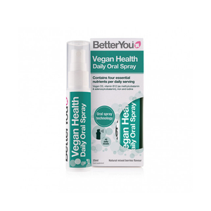 BetterYou Vegan Health Oral Spray supplement, providing fast, effective absorption of nutrients typically underrepresented in vegan and vegetarian diets