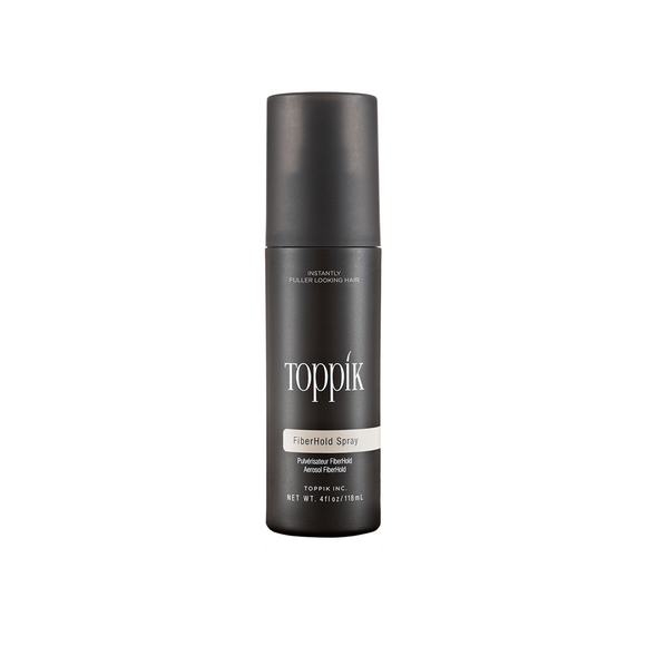 Toppik Fiber Hold Spray strengthens the bond between Toppik fibers and thinning hair, provides resistance to wind, rain and perspiration