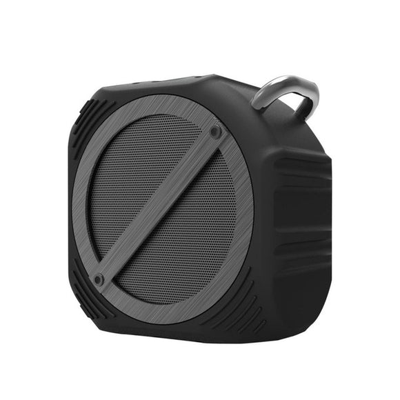 Basalt portable bluetooth speaker in black that fits in the palm of hand.