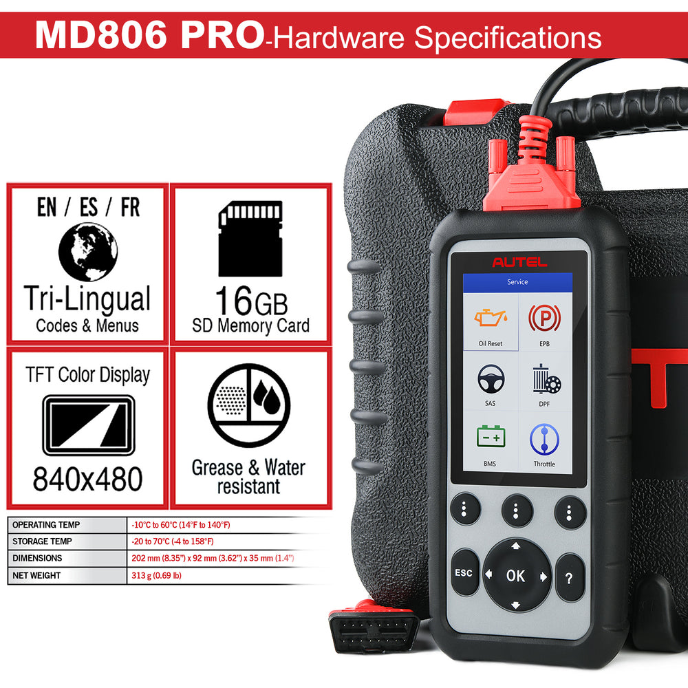 Autel MD806 Pro diagnsotic scanner hardware specs