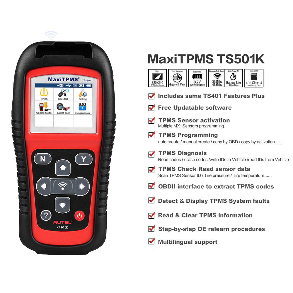 Autel ts501 main feature
