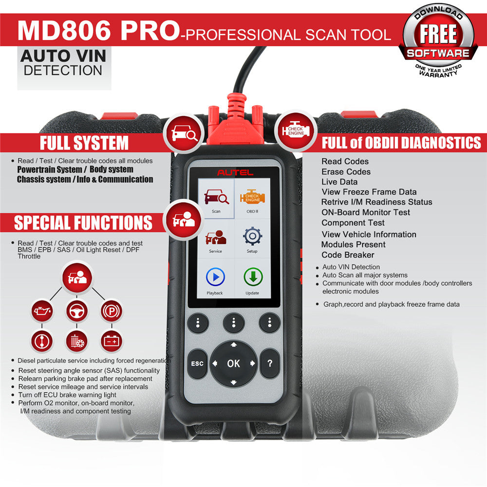 Autel MD806 Pro ALL system diagnostic OBD2 scanner with oil reset BMS SAS ABS DPF Throttle service