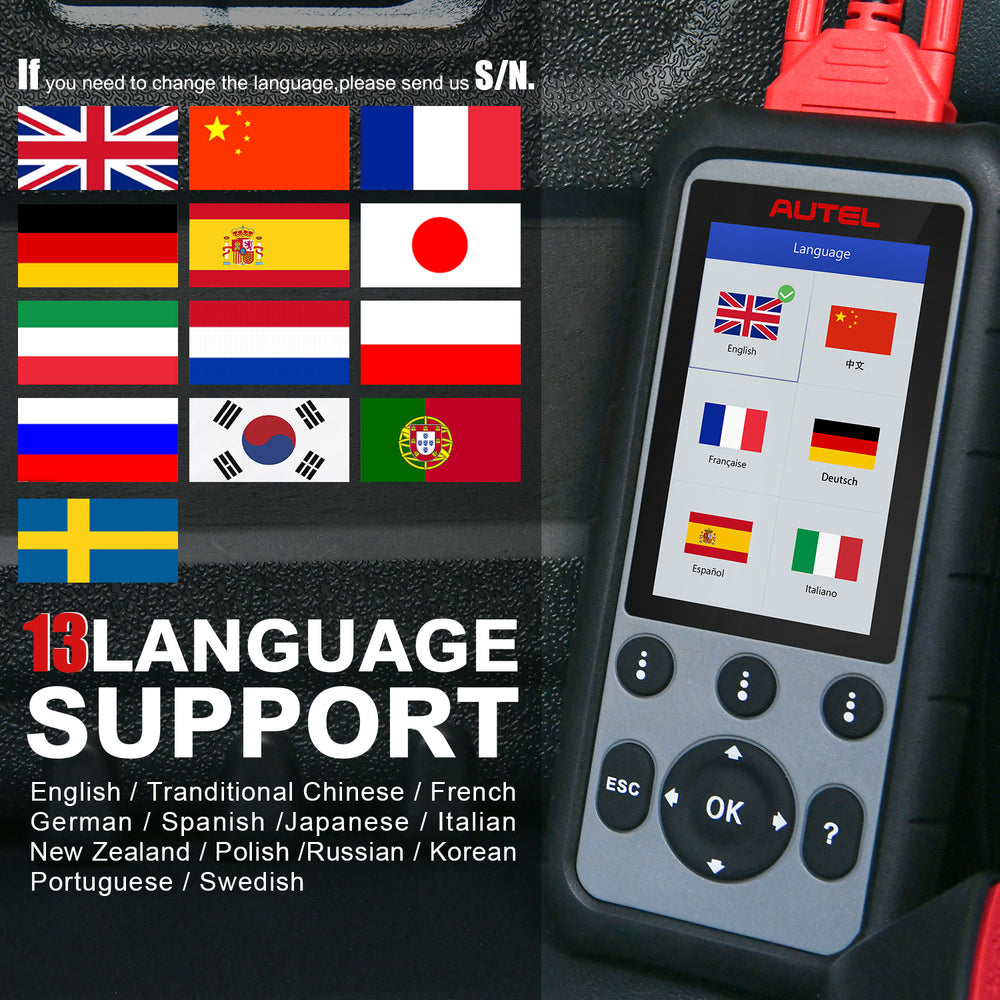 Autel MD806 Pro diagnostic scanner support 13 language