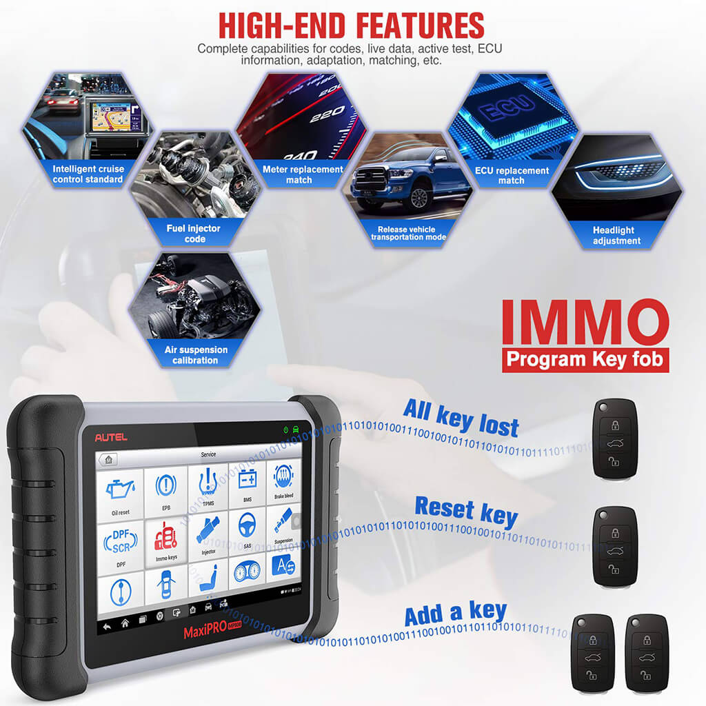 autel mp808k immo key functions
