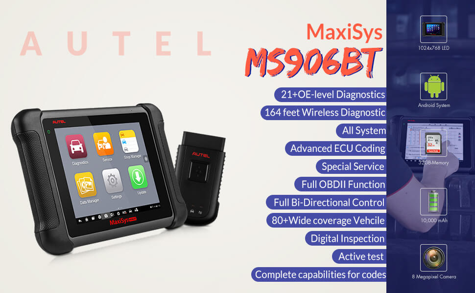 Autel Maxisys MS906bt OBD2 scanner provides comprehensive vehicle diagnostics and analysis