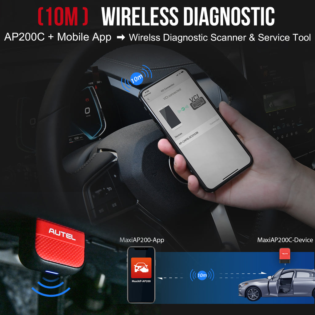 ap200c bluetooth connection diagnostic wihtin 10m