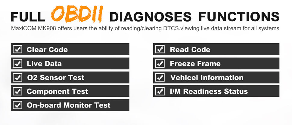 Autel mk908 support full obd2 functions