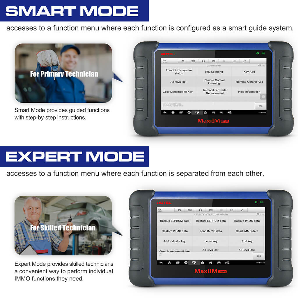 IM508 IMMO application provides Smart Mode and Expert Mode