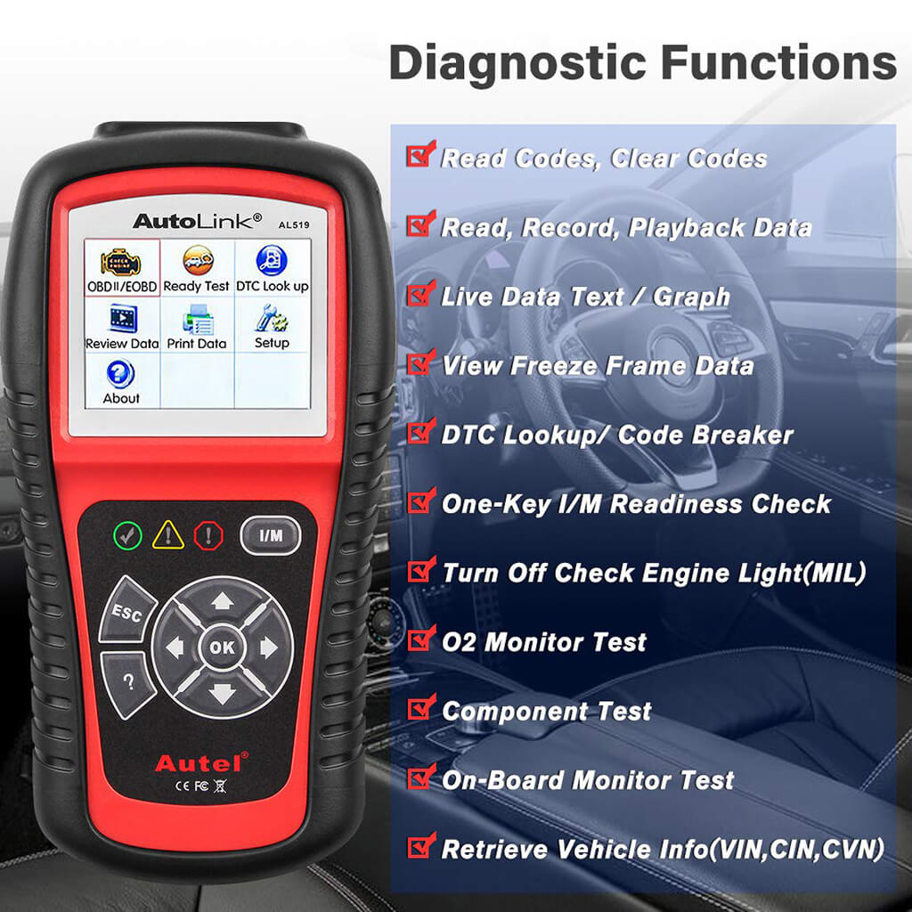Autel AL519 OBDII/EOBD Check Engine Code Reader CAN Scanner
