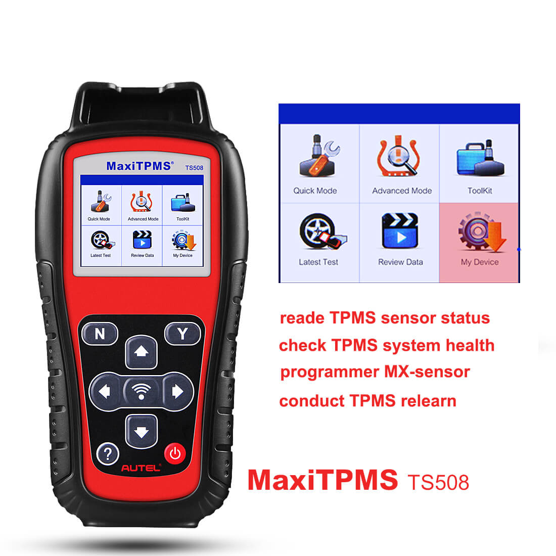 Check Tpms System >> Autel Maxitpms Ts508k Ts508 Tpms Diagnostic Service Tool Support Tire Sensor Reset Activate Program And Relearn With 8pc Sensors