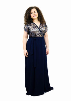 Rochie plus size lunga, bleomarin Rochie R80183