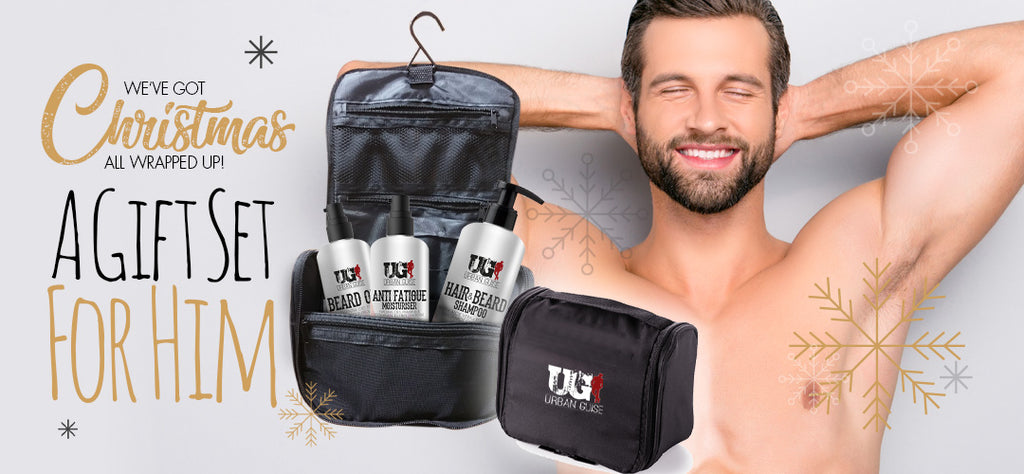 A gift for him, mens grooming this Christmas, shampoo and beard oil, toiletries gift