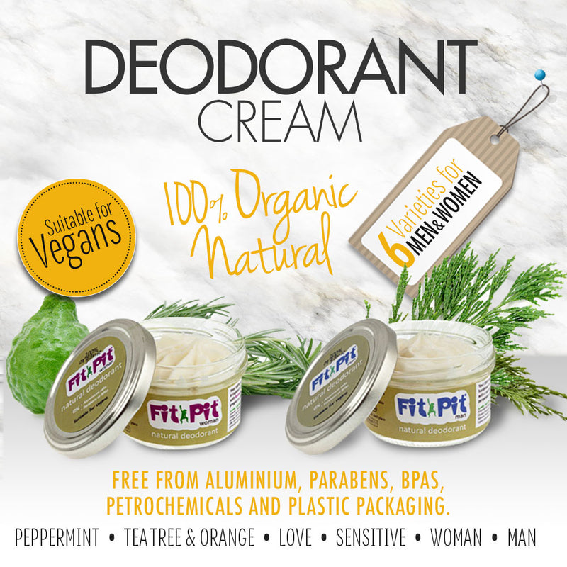 An organic natural deodorant unscented, suitable for sensitive skin, All-day protection from body odour, 100% organic natural ingredients, Suitable for vegetarians & vegans, Free from aluminium, parabens and BPA