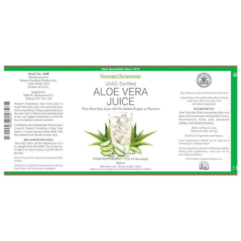 Ingredients Label Natures Sunshine Aloe Vera Juice,  Contains Vitamin B1, B2, B6 , C , Niacinamide, Choline, Amino Acids