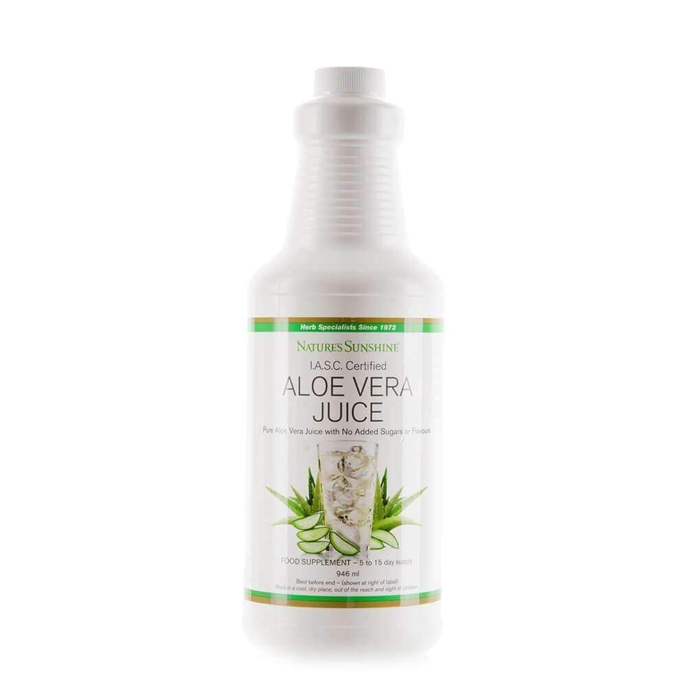Bottle of Natures Sunshine Aloe Vera Juice, daily supplement for digestive support