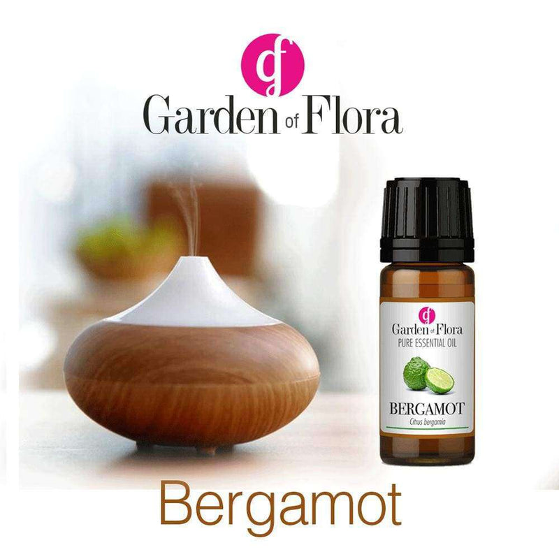 Glass Amber Bottle of Bergamot Pure Essential Oil 10ml with diffuser,