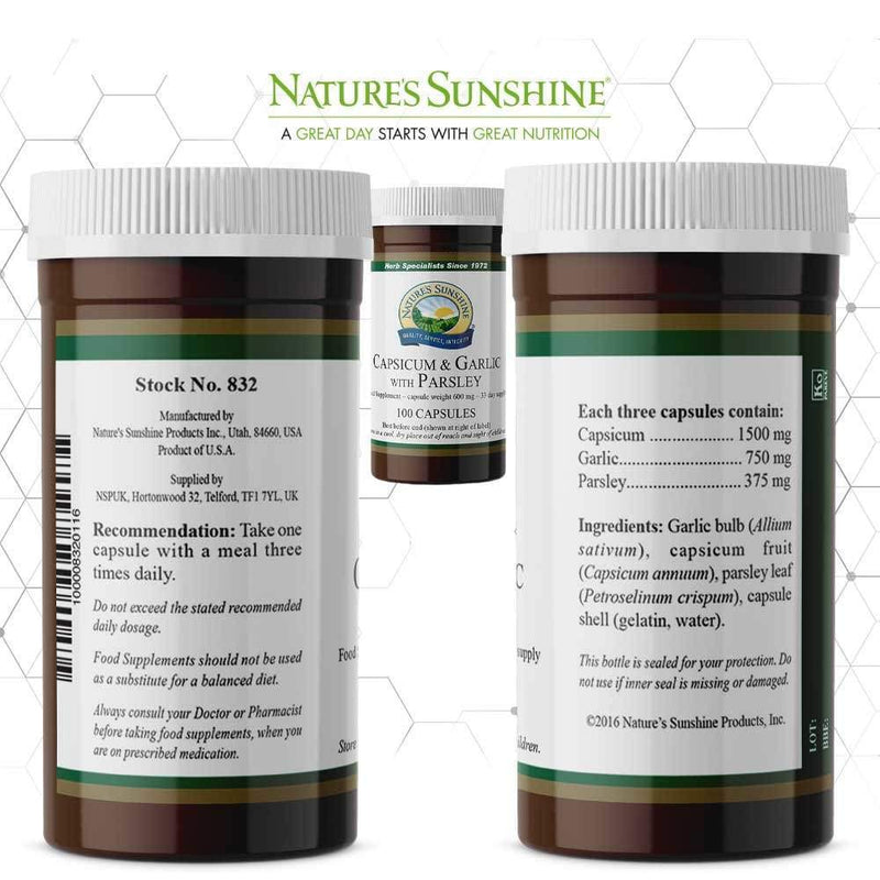 Nature's Sunshine - Capsicum and Garlic with Parsley (100 Capsules) - Capsule
