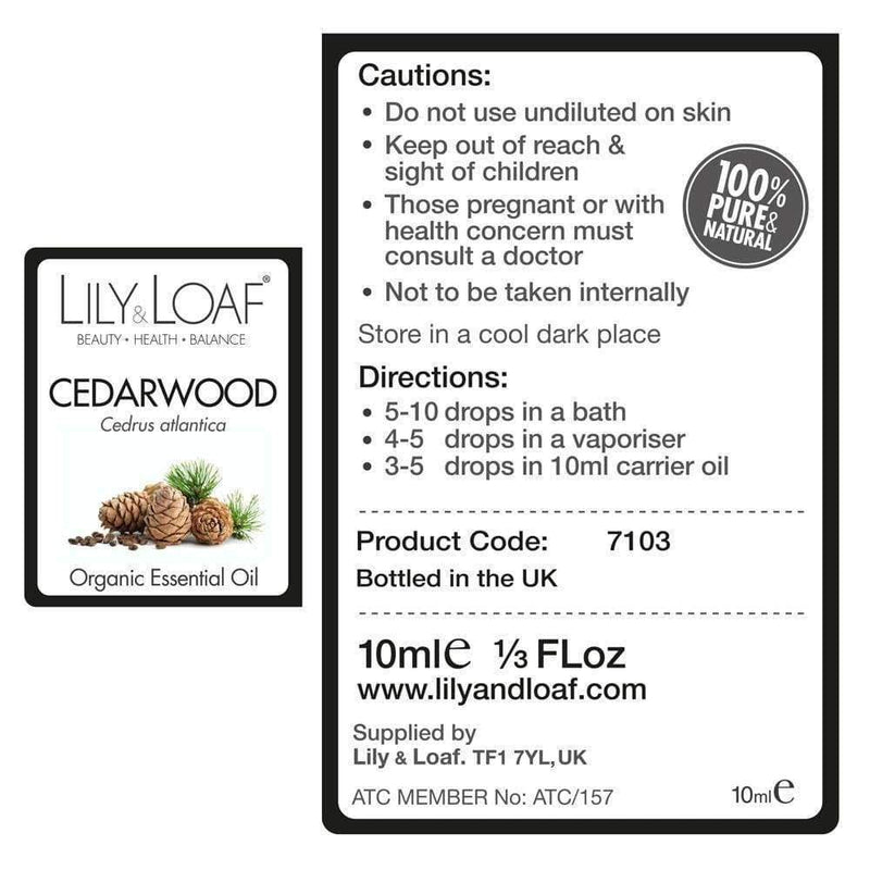 Lily & Loaf - Cedarwood Atlas Organic Essential Oil 10ml - Essential Oil