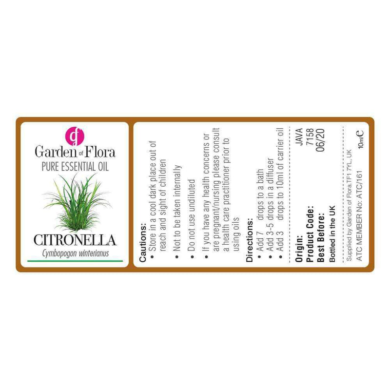 Garden of Flora - Citronella Pure Essential Oil 10ml - Essential Oil