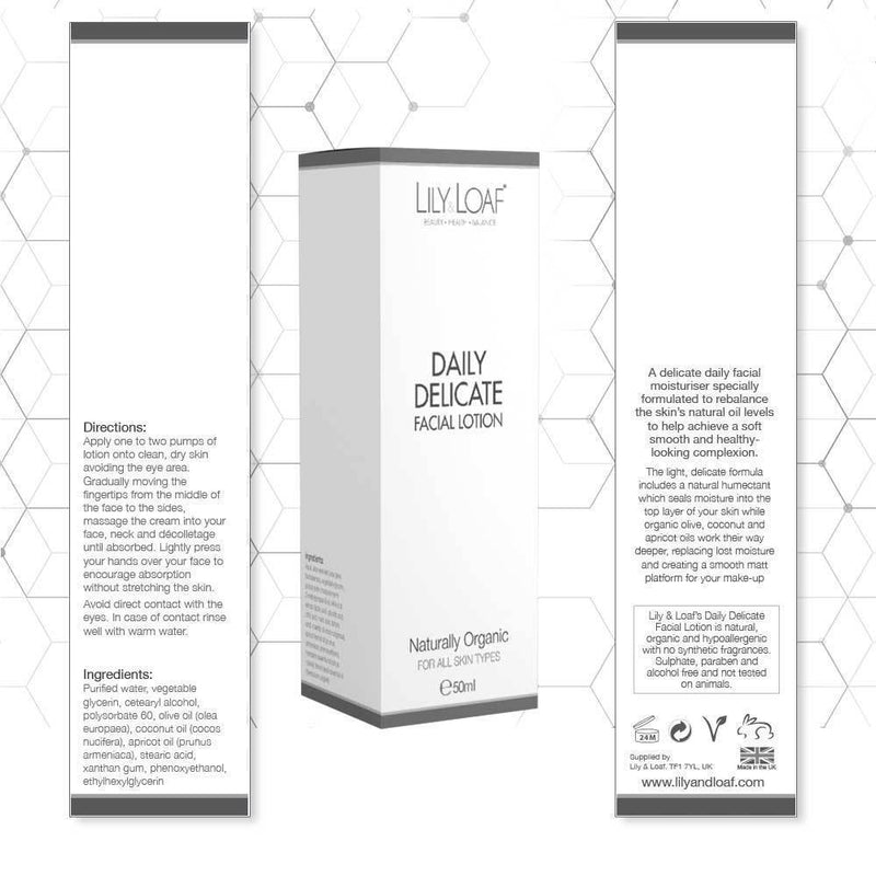 Lily and Loaf - Daily Delicate Facial Lotion 50ml (Organic) - Skincare