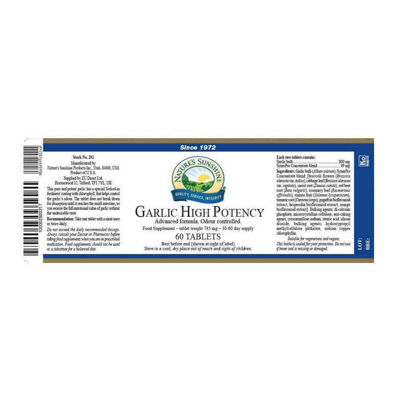 Natures Sunshine - Garlic - High Potency (60 Tablets) - Tablet