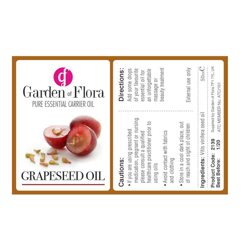 Garden of Flora - Grapeseed Pure Carrier Oil 50ml - Carrier Oil