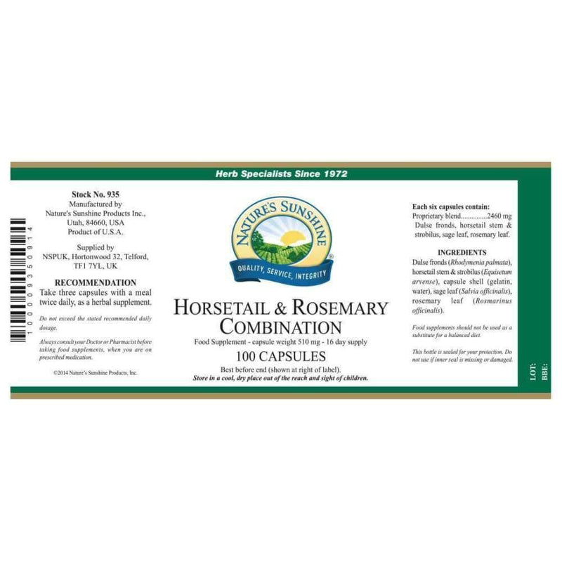 Natures Sunshine - Horsetail & Rosemary Combination - Capsule