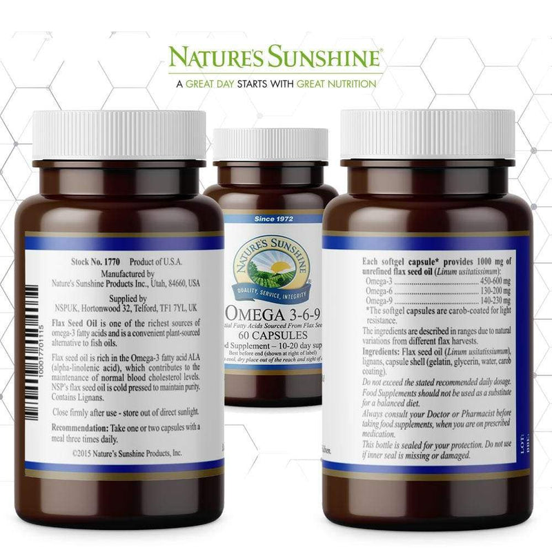 Nature's Sunshine - Omega 3-6-9 - Flax Seed Oil (60 Softgel Capsules) - Softgel Capsule
