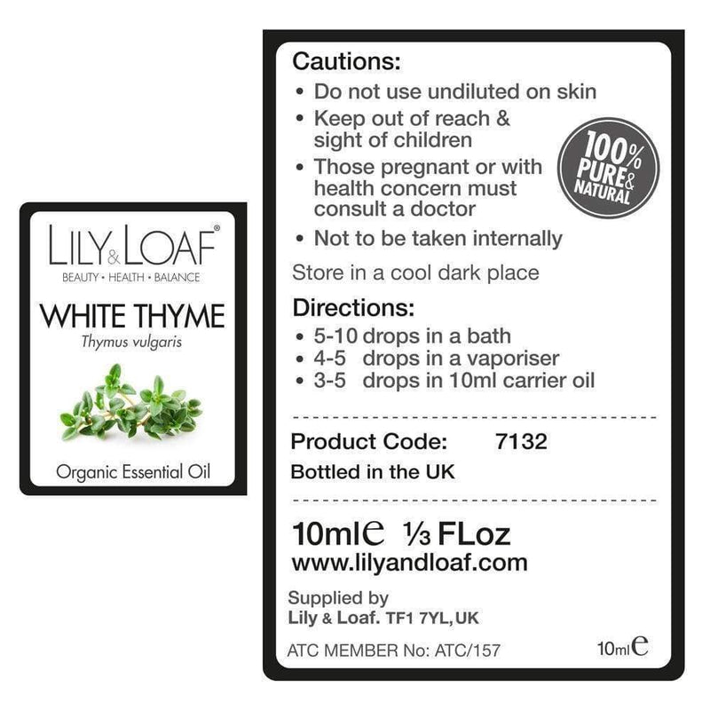Lily & Loaf - Thyme 10ml (Organic) - Essential Oil