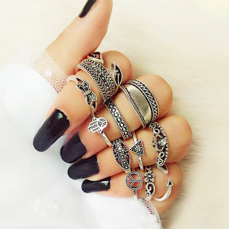 WLP 3-14 pcs /set Fashion Leaf flower triangle geometric Stone Midi Ring Sets Vintage Crystal Knuckle Rings For Women Punk rings 4